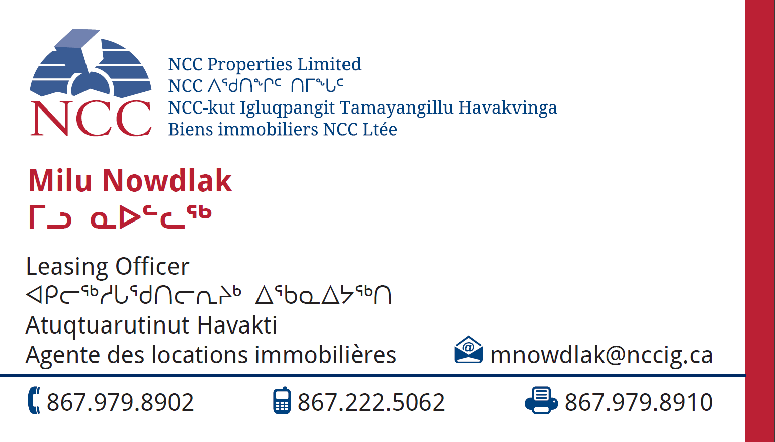 Milu Nowdlak - Leasing Officer